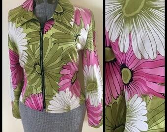 1990s Joseph Ribkoff crazy floral sparkly zipper blazer jacket 90s vintage vtg