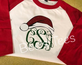 Monogram Christmas Baseball Tee - Santa Hat Tee - Santa Tee - Christmas Tee - Holiday Tee -- Youth and Adult available -- Christmas Raglan