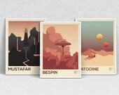 STAR WARS planètes - A4 impression set - affiches de films, wall art, copie moderne, minimaliste