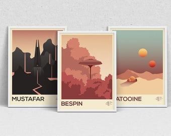 STAR WARS PLANETS - A4 print set - movie posters, wall art, modern print, minimalist