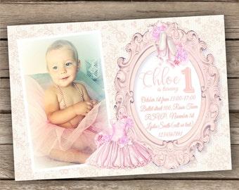 Ballerina Birthday Invitation, Pink Ballet Invitation with Lace Background, Girl Birthday Invite, Customized Printable Photo Invitation