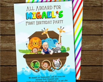 Noah's Ark Birthday Invitation, Noah's Ark Invite, Noahs Ark Party, Free Rainbow Striped Back, Customized Printable Photo Invitation
