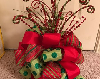 Christmas Tree Bow Topper - Large -Red, Green, & Lime Ribbon