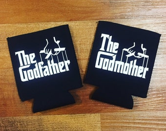Stubby Holder, beer cooler, stubby cooler, godparents, the godmother, The Godfather gift set of two (2).
