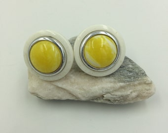 Circle White Silver Tone w/ yellow Stone Post Earrings    BUY 3 Get 1 FREE