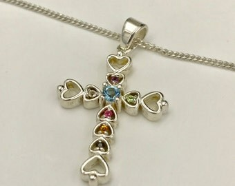 Sterling Silver Hearts,Necklace,Gemstone,Cross,Crystal Pendant,Shiny,Vintage Necklace,Gemstone,Hallmark 925 China,Religious, Charm Jewelry