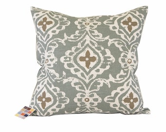Pillow Cover in Lacefield Print Close-Out Sale, Sage Pillow Cover with White and Taupe Print, 20x20 Pillow Cover in Seaglass Green