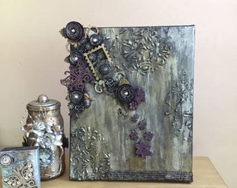 DISCOUNT ITEM, Gothic canvas, Butterfly art, Gold and silver canvas, Mixed media art, Mixed media canvas, Altered art, Purple butterfly.