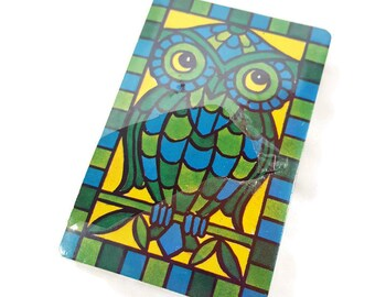 NEW Vintage Owl Playing Cards- Stained Glass Design- Sealed Deck- 1970s Folk Boho Artwork- Blue Green & Yellow- Vintage Owl Art- ATC Supply