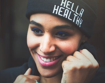 Hella Healthy® Beanie | Hella Healthy | Plant Based Apparel | Veggie Centric | Kale | I Stay Woke |