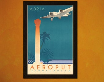 FINE ART REPRODUCTION Adria Aeroput Yugoslavia Print Vintage Tourism Travel Poster Advertising Retro    Design