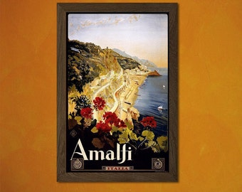 FINE ART REPRODUCTION Amalfi Italy Vintage Tourism Travel Poster Advertising Retro    (237269955)