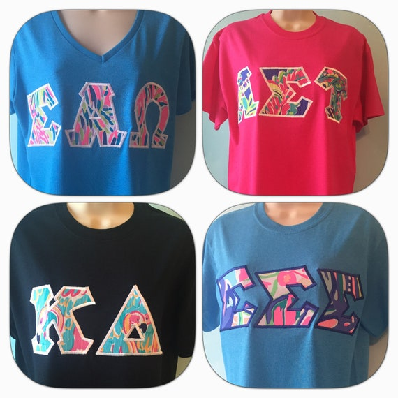 greek letter shirts lilly pulitzer sorority letter shirts any combinations 1269