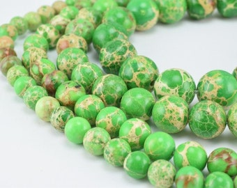 Natural Green Impression Jasper Beads 6mm/8mm/10mm/12mm Round Turquoise Imperial Impression natural healing stone chakra stones for Jewelry