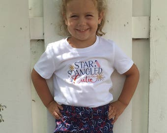 Fourth of July top, Independence Day shirt, girls fourth of July shirt, star spangled cutie