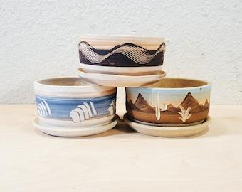 Desert planter, Stoneware Planter, Southwestern, carved pottery planter, Boho succulent planter, Boho Planter, Boho Decor, Southwest, Cactus