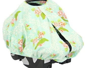 Vintage Songbird | Pink and Mint Car Seat Canopy Cover