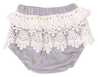 Gray Fringe Baby Bloomers | Gray, Ivory, Lace, Fringe, Vintage, Boho, Baby Girl Diaper Cover