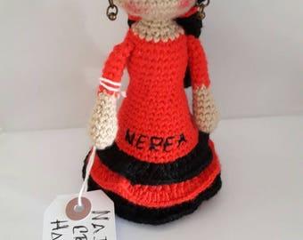 amigurumi doll ,crochet doll, flamenca,hecho a mano,handmade,hilo de algodon,16cm,personalizado
