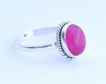 Pink Stone Ring, 925 Sterling Silver, Sterling Ring, Silver Ring, Pink Ring, Rose Stone Ring,