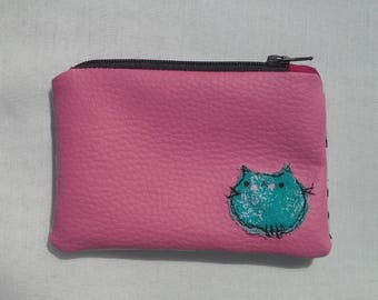 Coin Purse, Pink Faux Leather with Cat Applique