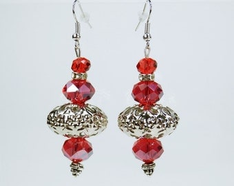 Earrings big Pearl Earrings in red - silver on Silver earrings slope red earrings Pearl Oriental