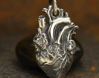 FREE SHIPPING Solid .925 Sterling Silver Anatomical Anatomically Correct Heart Charm Love Doctor Heatbeat Nurse Organ Valentines Best Seller