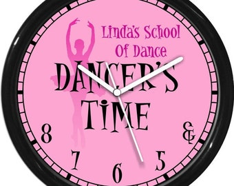 """Dancer's Time Ballet 10"""" Pink Wall Clock Personalized Gift & 5 6 7 8 Dance Studio Girl's Room Gift"""