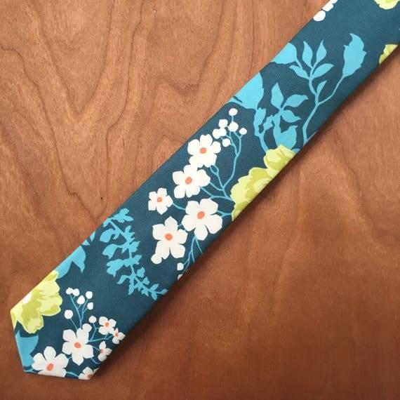 Handmade, Floral print , Necktie, Cotton, Teal, Lime, White Tie