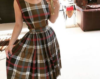 Lovely 1950s plaid top and skirt set