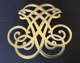 Elegant Brass Trivet, Thomas Jefferson Cipher, Monticello, 1951 Copyright Solid Brass Fancy Trivet