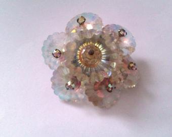 vintage crystal bead brooch