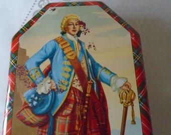 vintage Scottish tin Scotsman Tartan trim