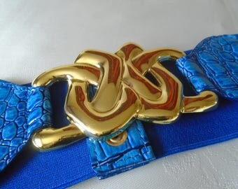 royal blue waspie belt gold tone metal buckle
