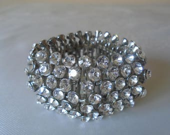 chunky diamante faceted paste stones elasticated bracelet