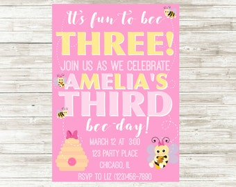Bumble Bee Birthday Invitation, Third Birthday