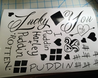 Free Shipping! Harley Quinn Tattoo Lot  Harley Quinn   Joker  Suicide Squad   Love   Tattoo   Cute  Mr.J  Puddin  Lucky You  Vinyl  Decal  S
