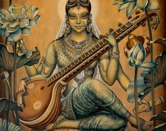 Saraswati. Goddess. Wisdom. Lotus. Flowers. Yoga. Meditation. Giclée canvas print, hinduism, modern painting, acrylic painting