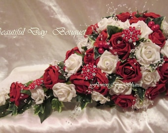 Wedding Flowers Red Ivory Wedding Bouquet Brides Bouquet Teardrop Red And Ivory Bouquets Posies