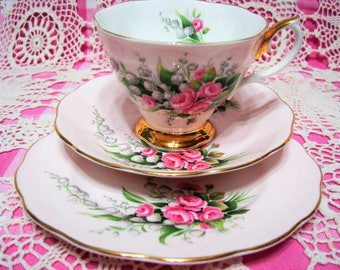 Lovely Vintage ROYAL ALBERT Pastel Pink Lily of the Valley Cup, Saucer & Side Plate.