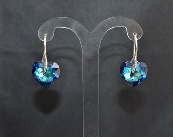 Earrings 925 silver and Swarovski crystal heart crystal bermuda blue