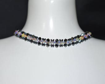Swarovski crystal necklace hematite 2x, crystal ab2x