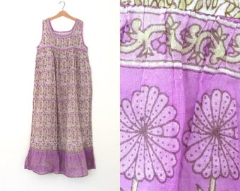 Vintage Maxi dress lightweight sheer Indian cotton gauze blockprint. Sleeveless purple lilac pale green white