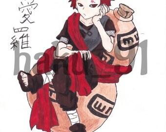Gaara from Naruto (anime/manga) A4/A5 Colour Sketch Art Print