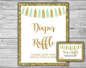Mint and Gold - Baby Shower - Diaper Raffle Tickets and Diaper Raffle Sign - Printable - Instant Download - Mint- Gold - Tassels - 033