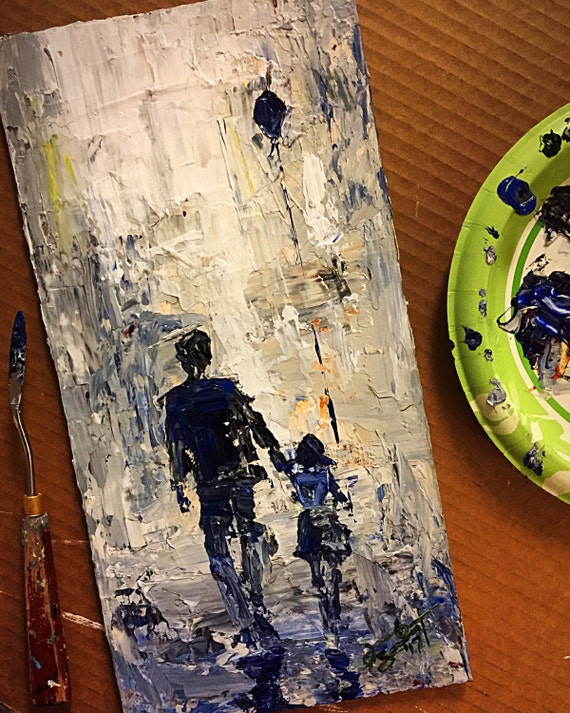 """Girl with Ballon - """"Daddy/Daughter Date"""" - 14""""x7"""" – Art Original Acrylic Painting – Palette Knife on Board by Jacob Secrest"""