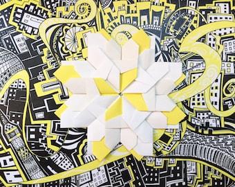 London Yellow handmade origami greeting card