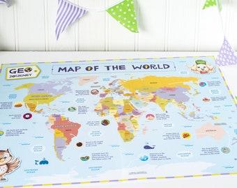 Kids World Map, World Map for Children, Colourful World Map, Child Friendly Map, Kids Map of the World, Kids Maps, Maps for Children.