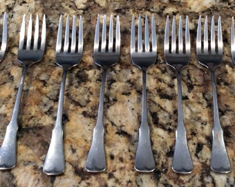 Oneida Community Patrick Henry Stainless Steel Flatware,  8 salad forks. vintage, Community, Bettycrocker, Wing, Satin