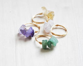 Gemstone Rings, Wire Wrap Rings, Quartz Ring